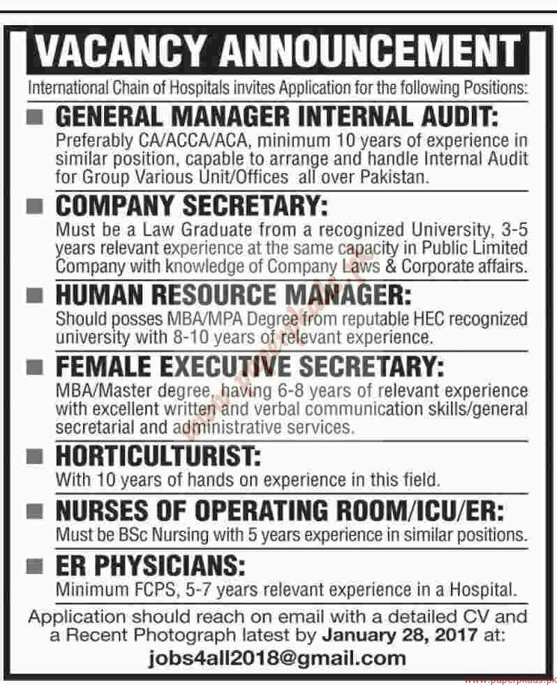 International Chain of Hospitals Jobs