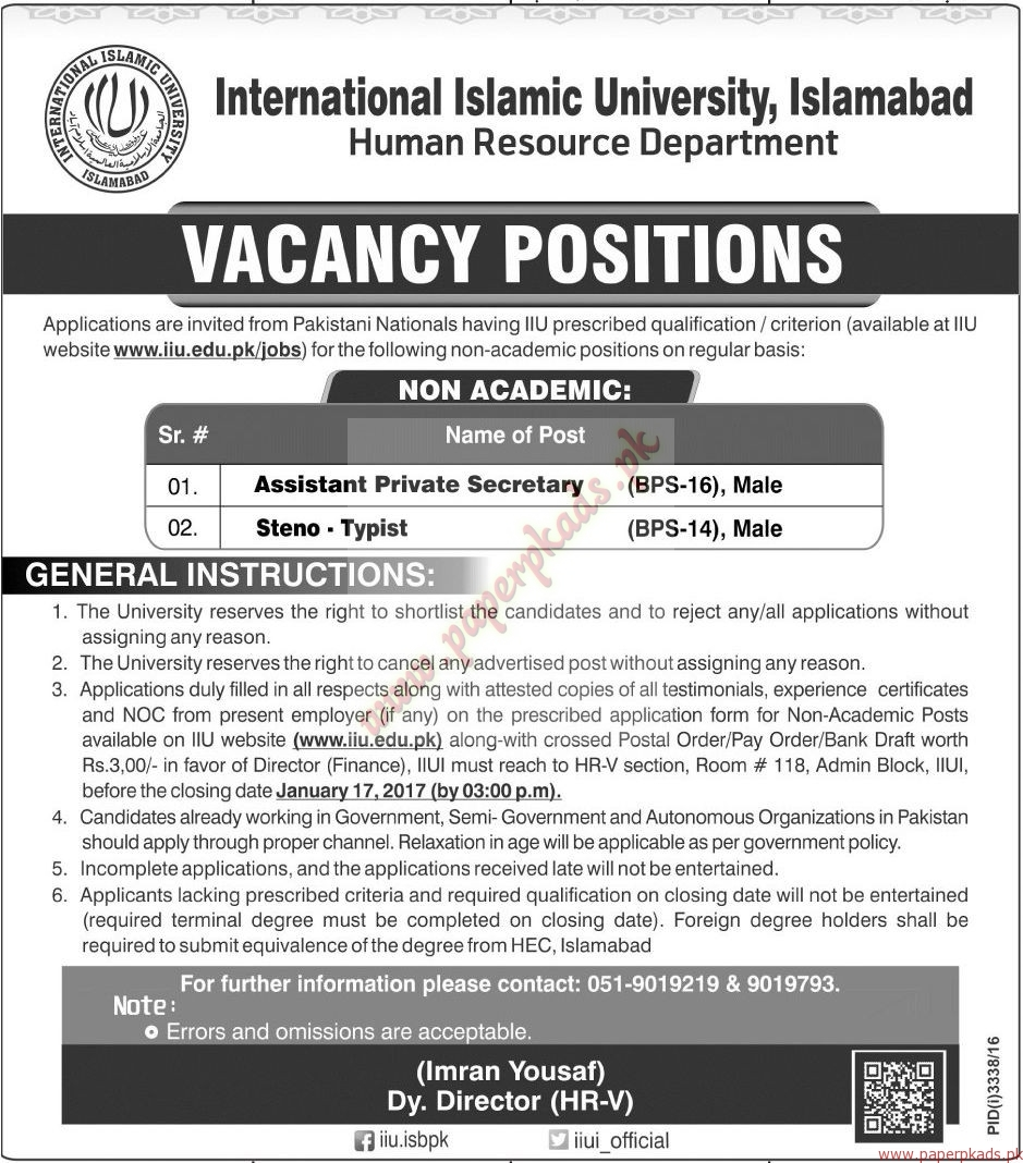 International Islamic University Islamabad Jobs - Jang Jobs ads 01 January 2017
