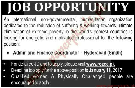 International Non-Governmental Humanitarian Organization Jobs - The News Jobs ads 05 January 2017