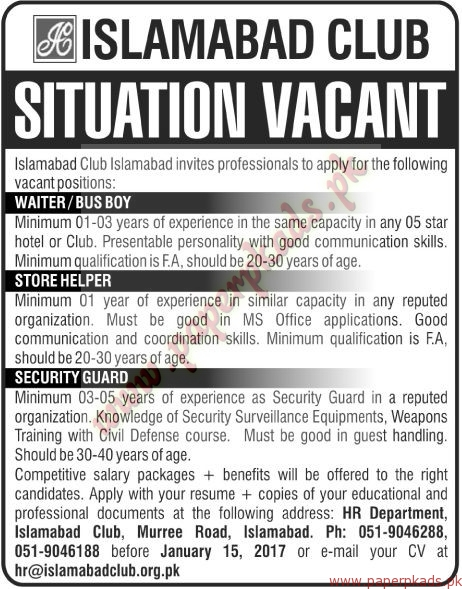Islamabad Club Islamabad Jobs - The News Jobs ads 04 January 2017