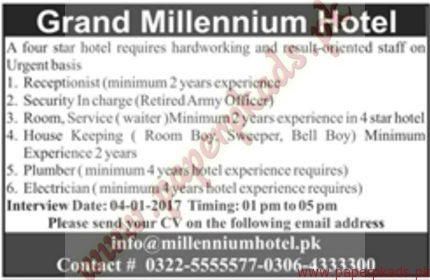 Jobs in Grand Millennium Hotel - Jang Jobs ads 01 January 2017