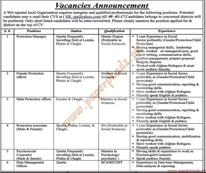 Jobs in Local Organization - Jang Jobs ads 04 January 2017