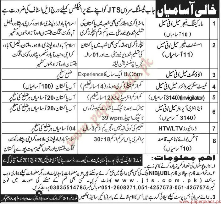 Jobs in Testing Service - Jang Jobs ads 01 January 2017