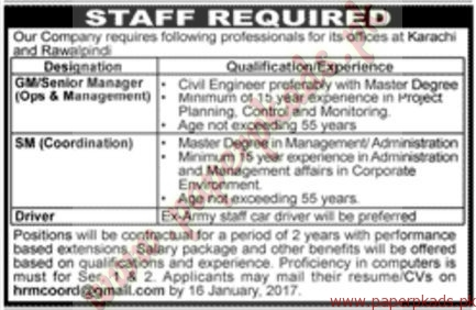 Karachi Based Company Staff Required
