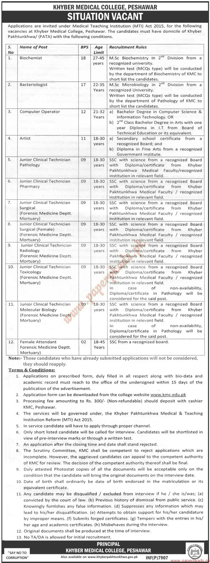 Khyber Medical College Jobs - The News Jobs ads 01 January 2017