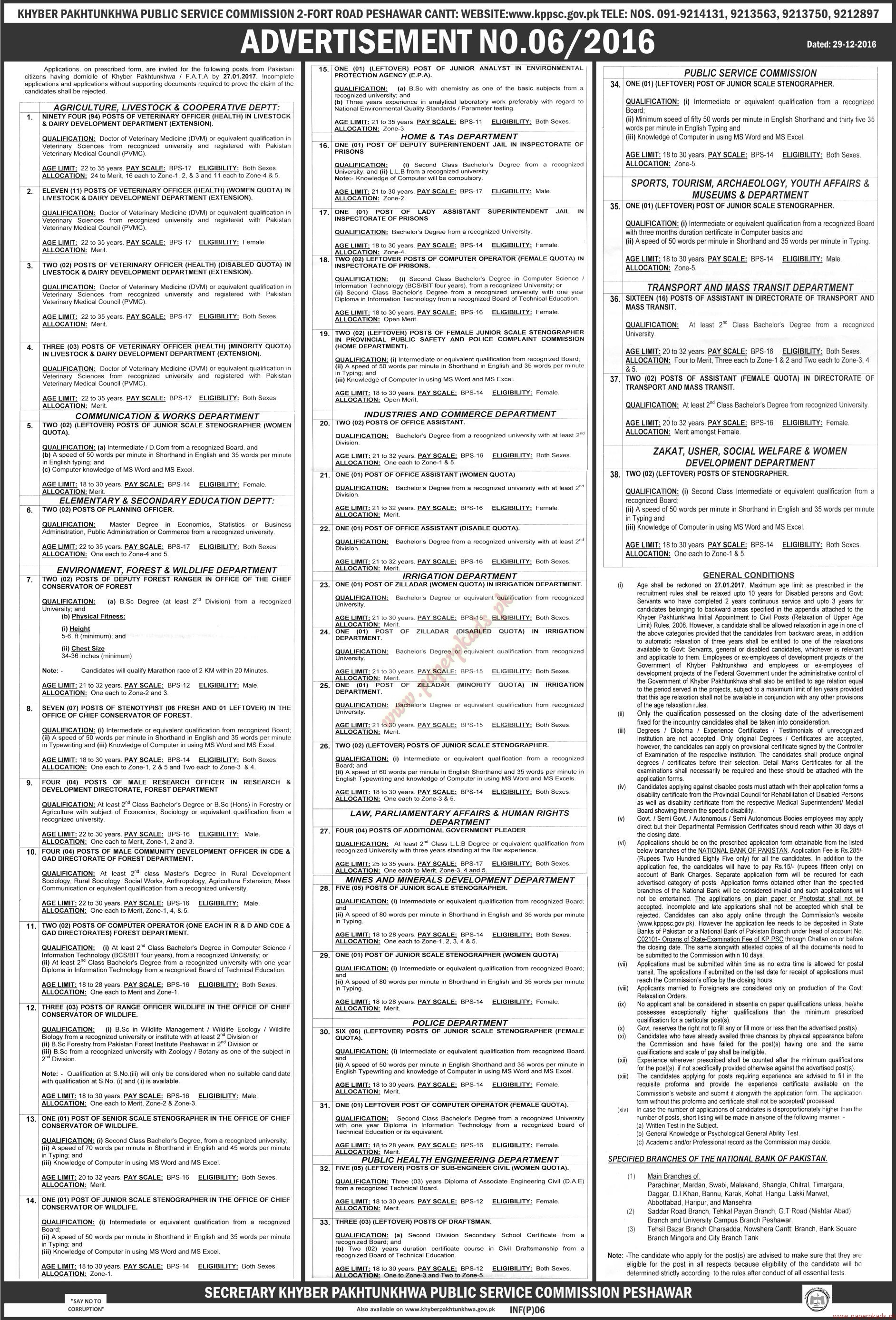 Khyber Pakhtunkhwa Public Service Commission Jobs - The News Jobs ads 04 January 2017