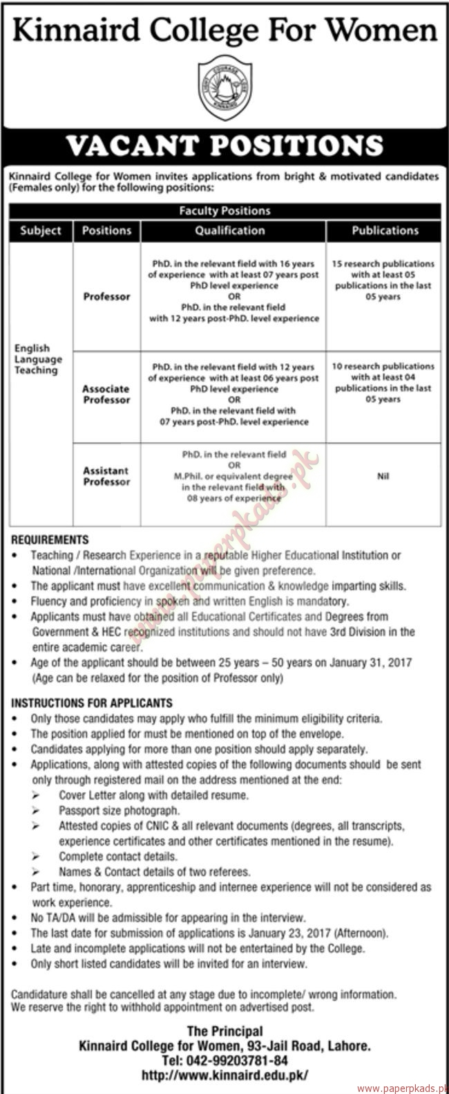 Kinnaird College for Women Jobs