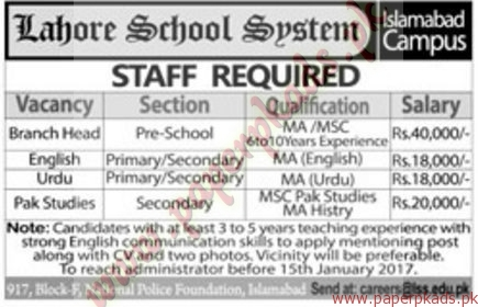 Lahore School System Jobs