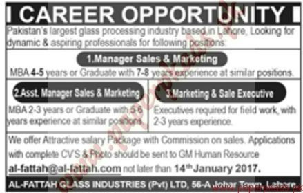 Largest Glass Processing Industry Lahore Jobs