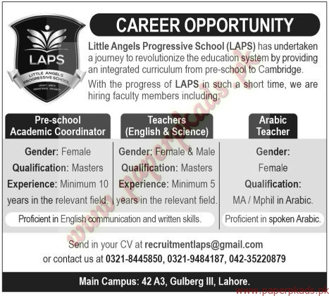 Little Angels Progressive School Jobs - The News Jobs ads 01 January 2017