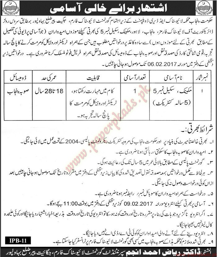 Live Stock & Dairy Development Department Jobs