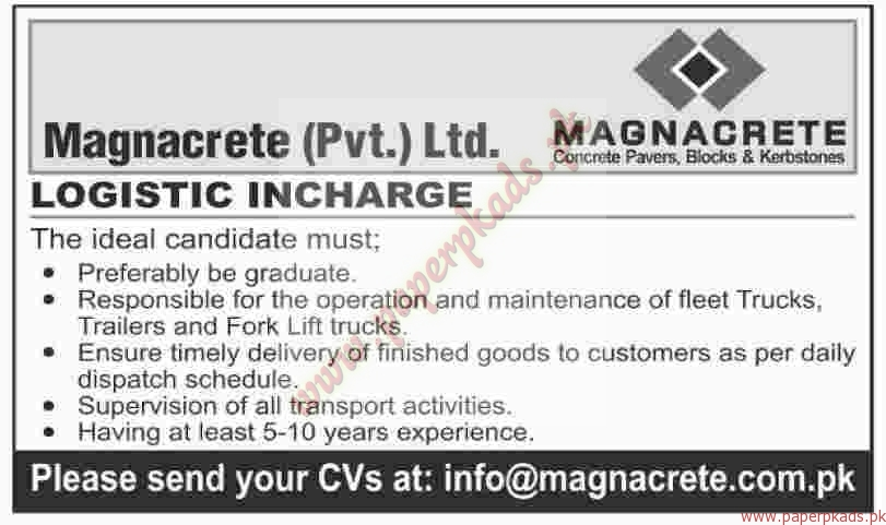 Magnacrete Private Limited Jobs - Dawn Jobs ads 01 January 2017