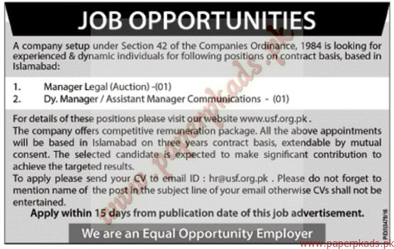 Manager Legal and Deputy Manager and Assistant Manager Communications Jobs