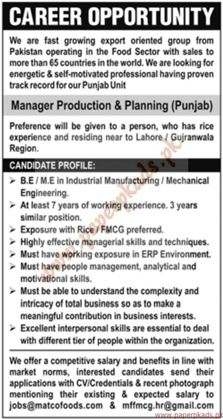 Manager Production & Planning Jobs