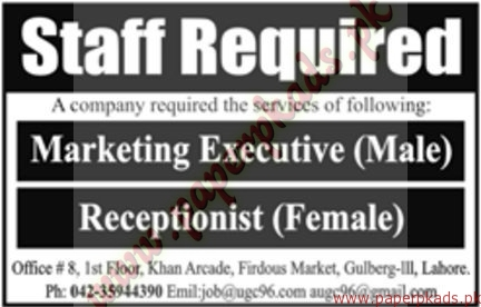 Marketing Executive and Receptionists Jobs - Jang Jobs ads 01 January 2017