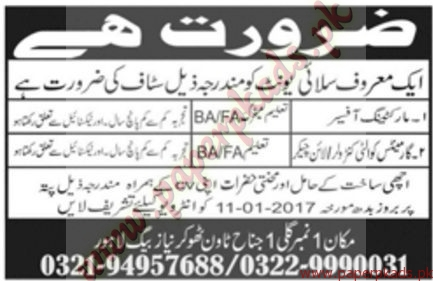 Marketing Officers & Garments Quality Controllers Jobs