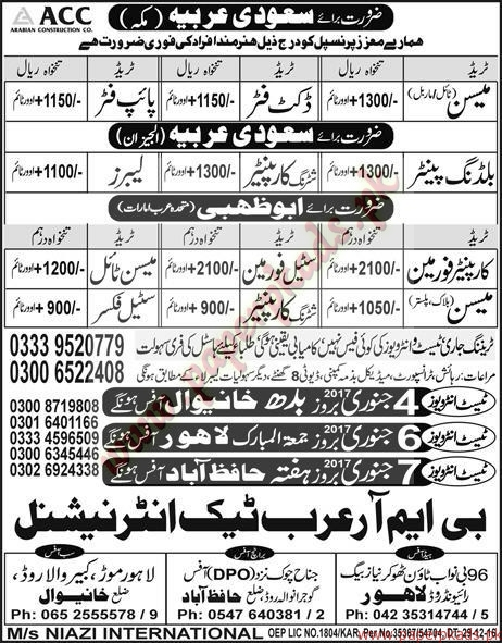 Mason, Duct Fitters, Duct Man and Other Jobs in Saudi Arabia - Express Jobs ads 04 January 2017