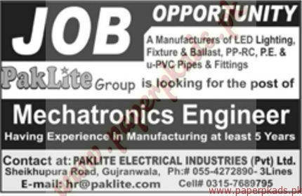 Mechatronics Engineers Jobs - Jang Jobs ads 01 January 2017
