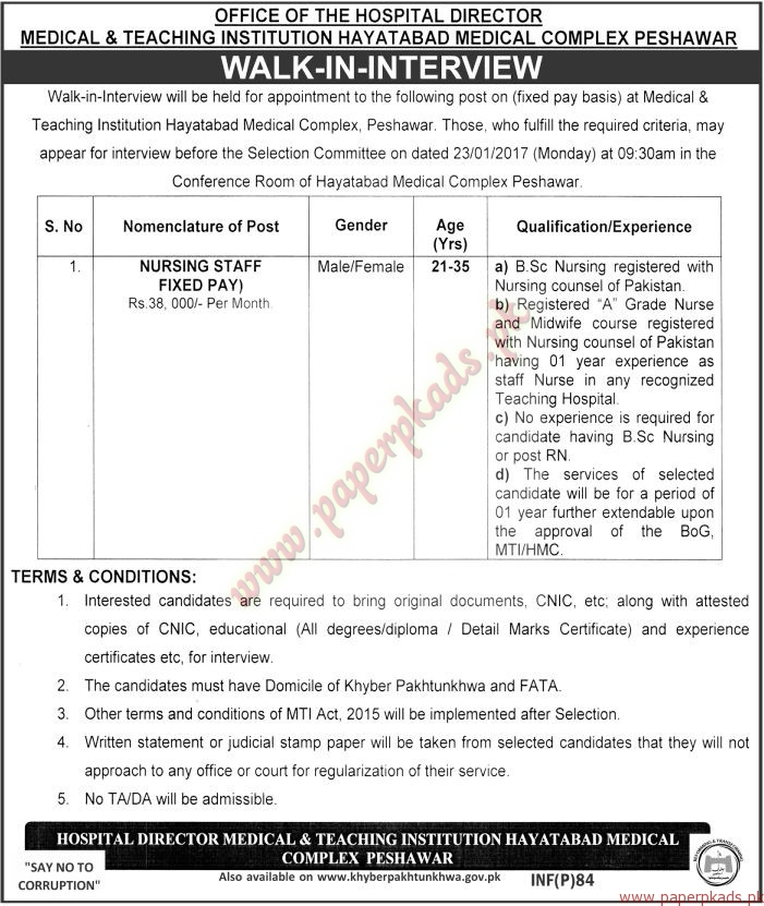 Medical & Teaching Institution Hayatabad Medica Complex Peshawar Jobs