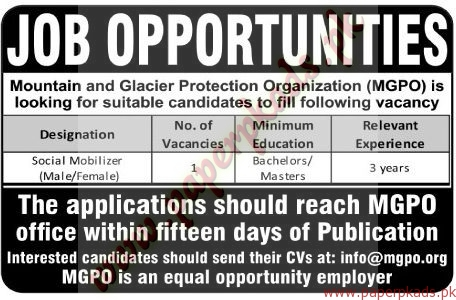 Mountain and Glacier Protection Organization jobs - The News Jobs ads 05 January 2017