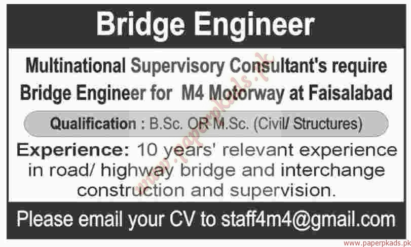 Multinational Supervisory Consultants Jobs - Dawn Jobs ads 01 January 2017