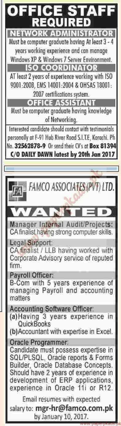 Multiple Jobs - Dawn Jobs ads 01 January 2017