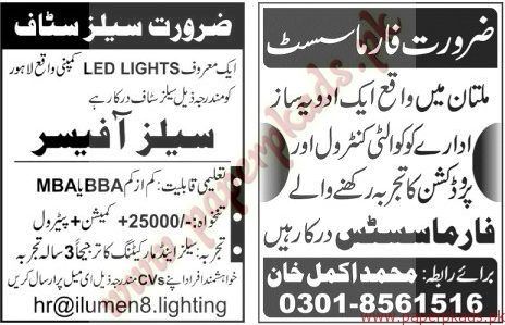 Multiple Jobs - Part 1 - Jang Jobs ads 01 January 2017