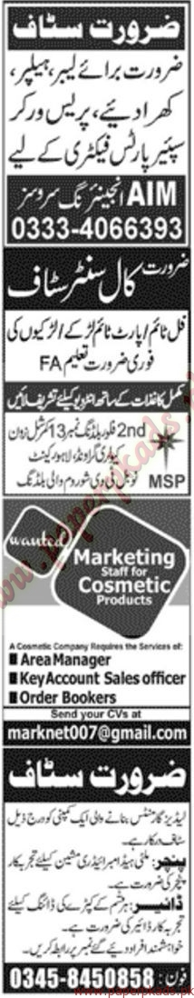 Multiple Jobs - Part 2 - Jang Jobs ads 01 January 2017