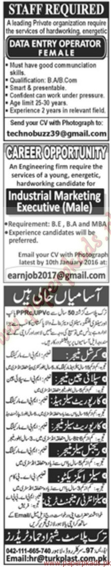 Multiple Jobs - Part 3 - Jang Jobs ads 01 January 2017