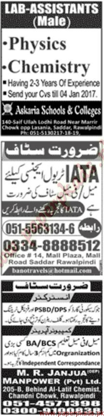 Multiple Jobs - Part 8 - Jang Jobs ads 01 January 2017