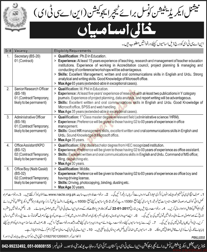 NACTI Jobs - Nawaiwaqt Jobs ads 04 January 2017