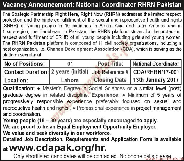 National Coordinator RHRN Pakistan Jobs - The Nation Jobs ads 03 January 2017