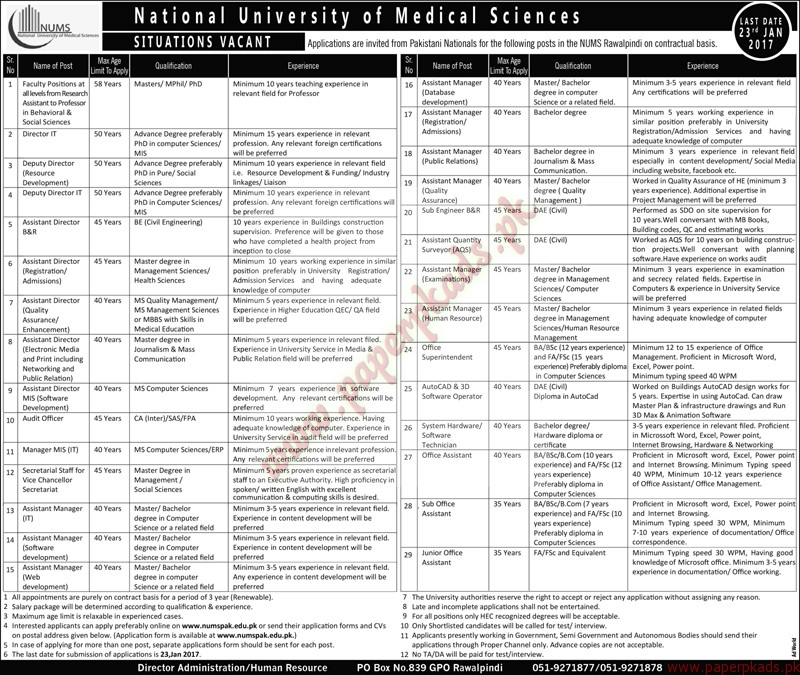 National University of Medical Sciences Jobs