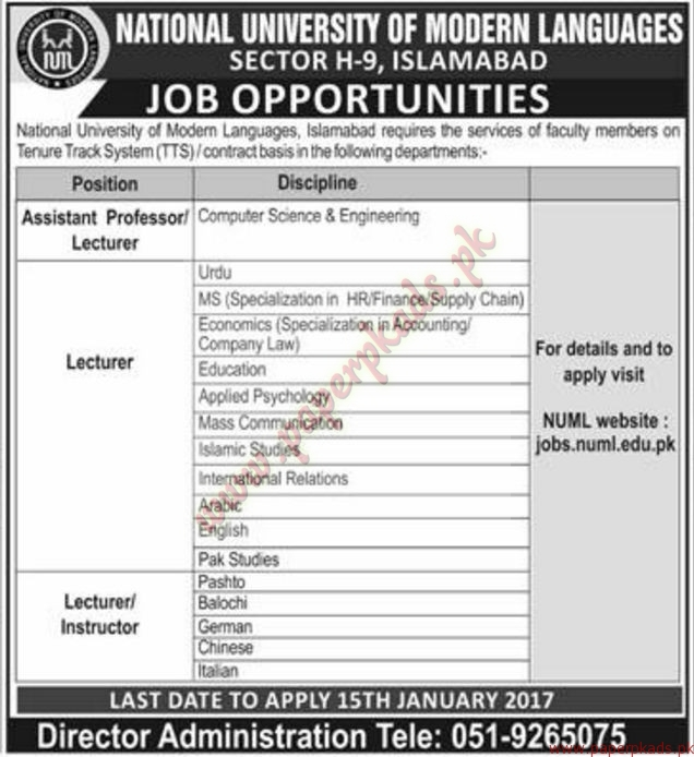 National University of Modern Languages Jobs