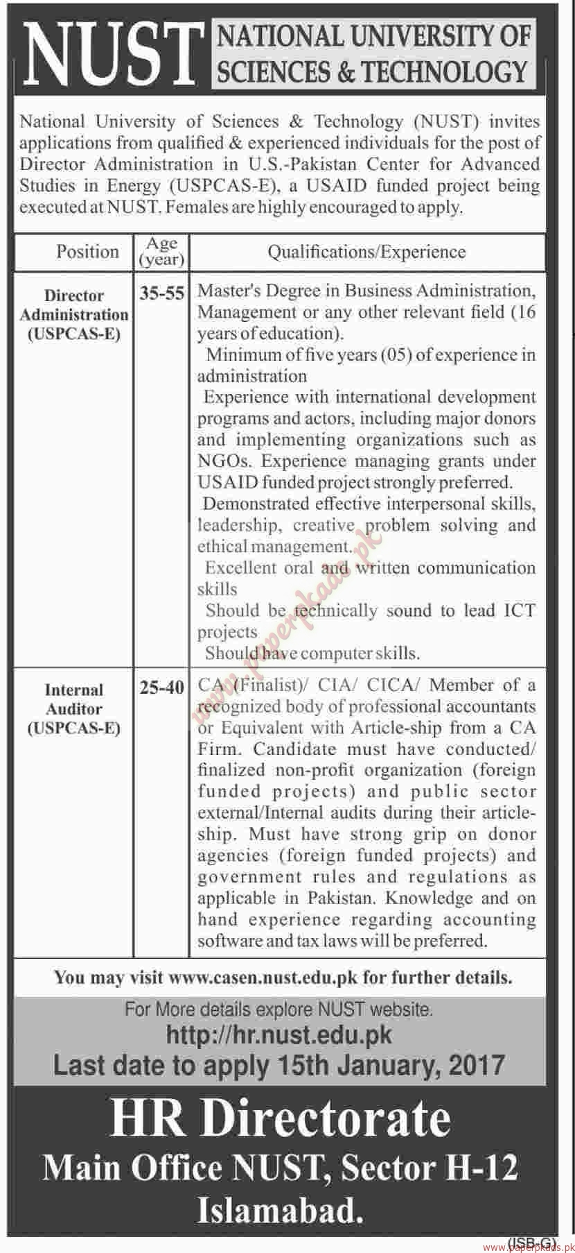 National University of Sciences and Technology Jobs - Dawn Jobs ads 04 January 2017