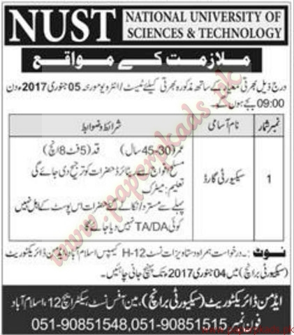 National University of Sciences and Technology Jobs - Express Jobs ads 01 January 2017