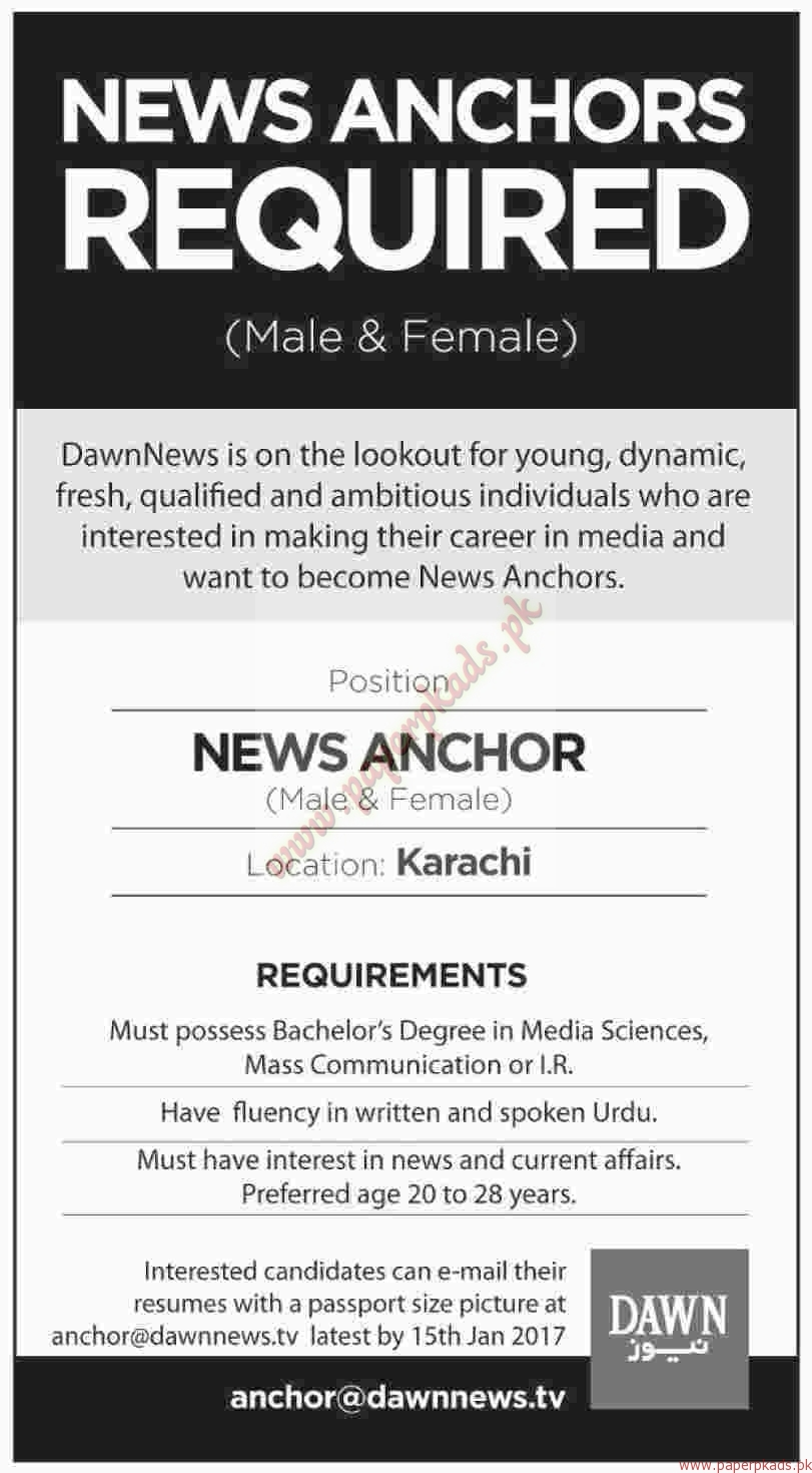 News Anchors Required - Dawn Jobs ads 01 January 2017