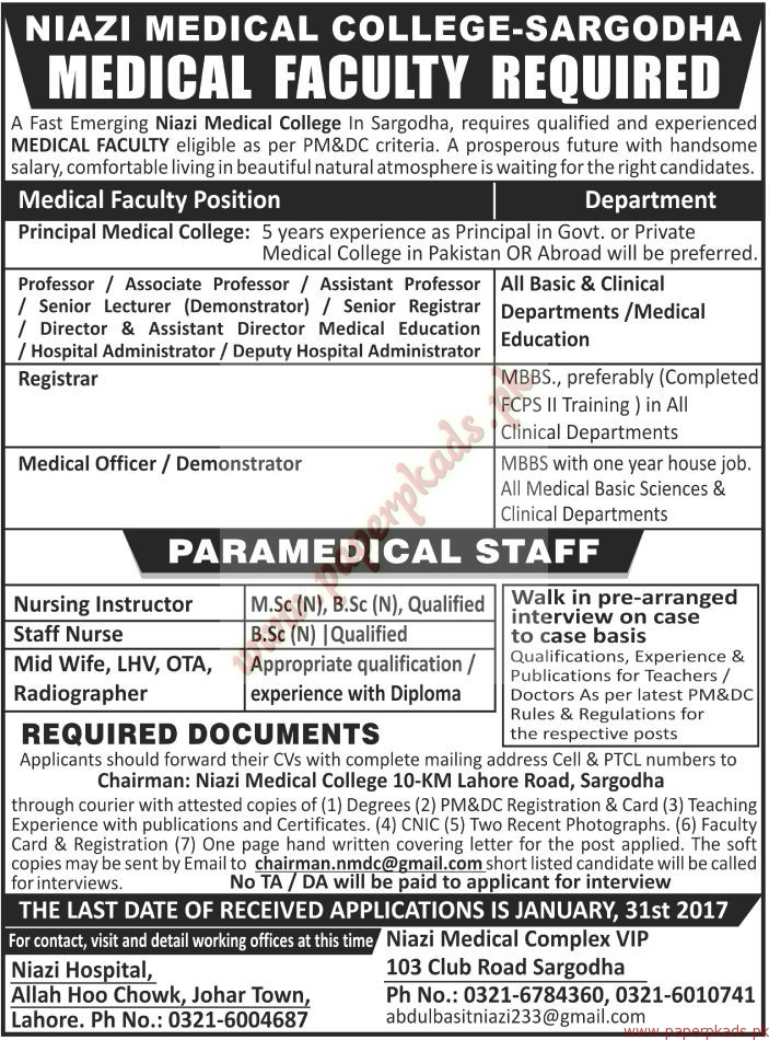Niazi Medical College Sargodha Jobs - The News Jobs ads 01 January 2017