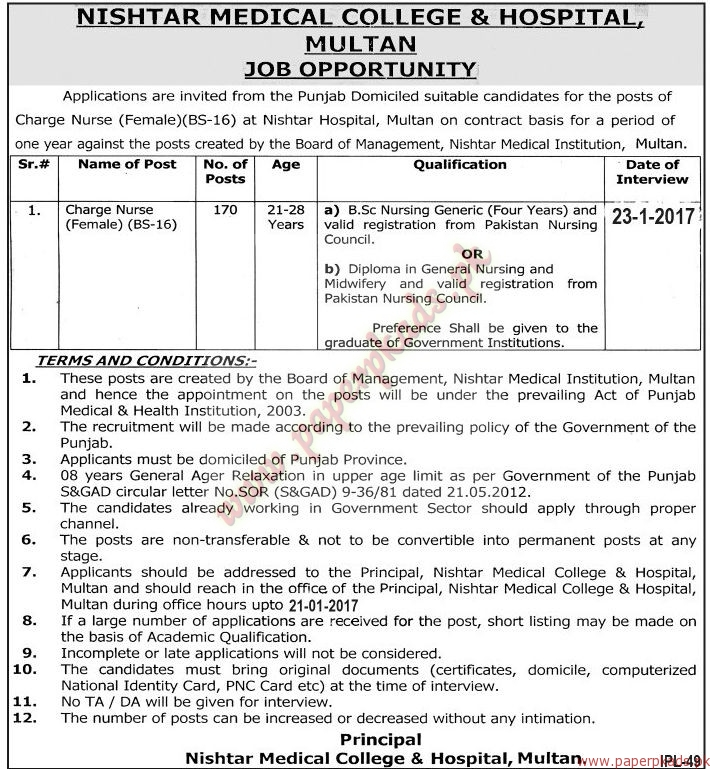 Nishtar Medical College & Hospital Multan Jobs
