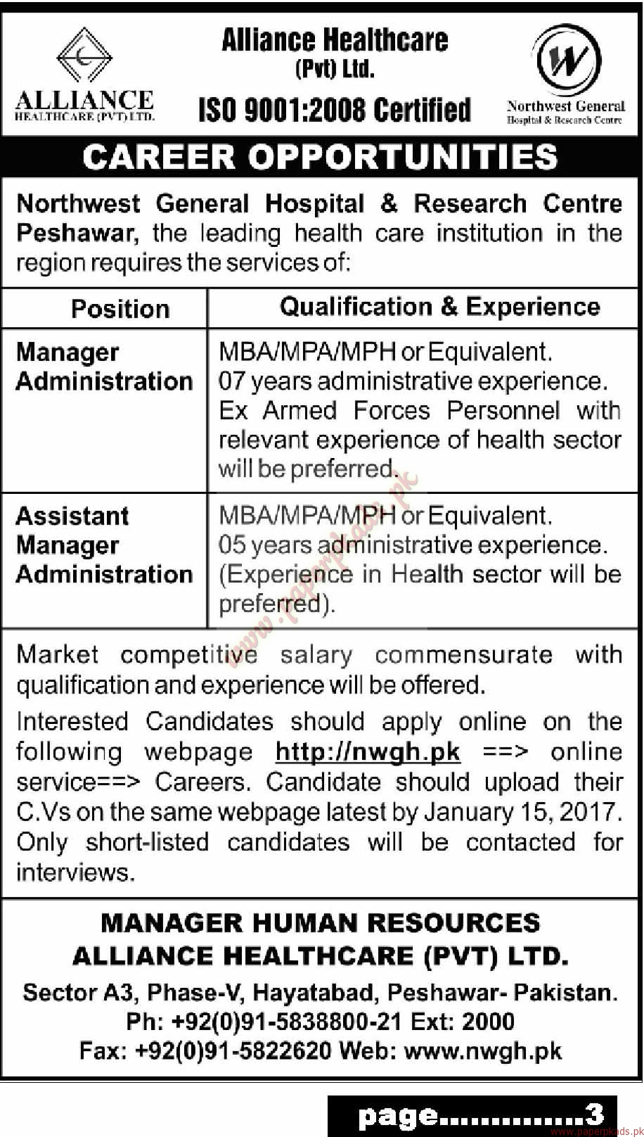 Northwest General Hospital and Research Centre Jobs - Mashriq Jobs ads 05 January 2017