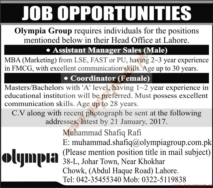Olympia Group Jobs