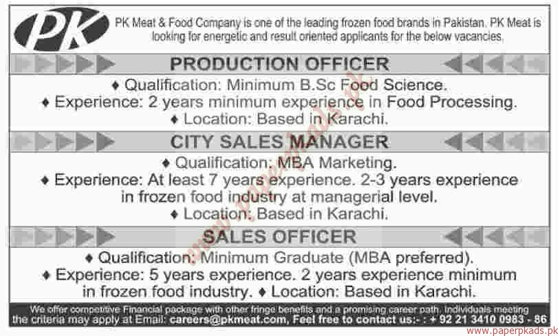 PK Meat & Food Company Jobs - Dawn Jobs ads 01 January 2017