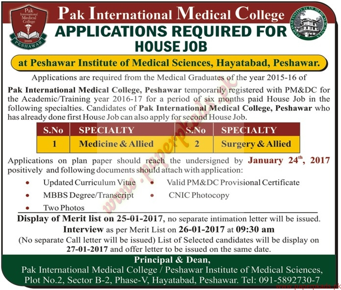 Pak International Medical College Jobs