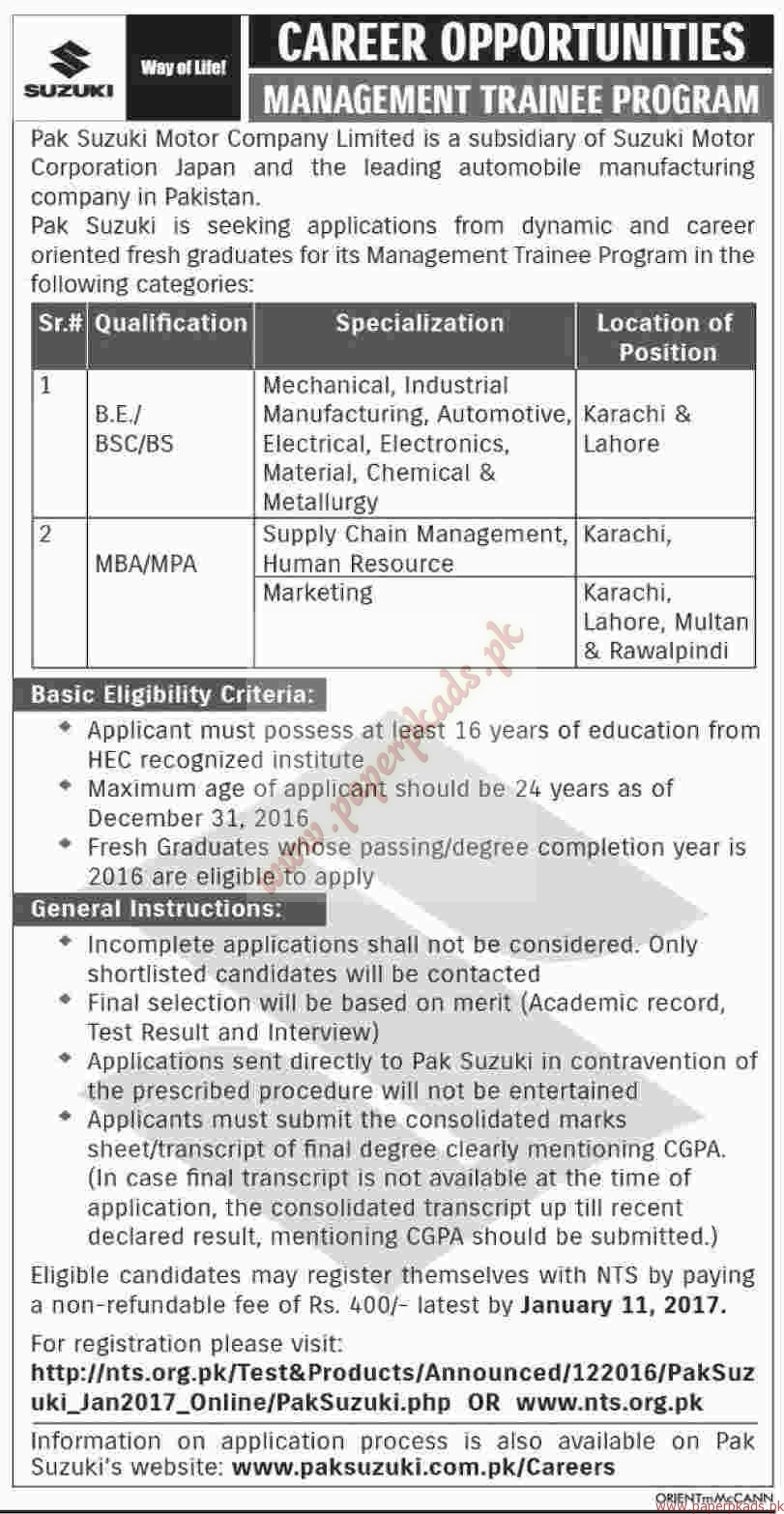 Pak Suzuki Motor Company Limited Jobs - Dawn Jobs ads 01 January 2017