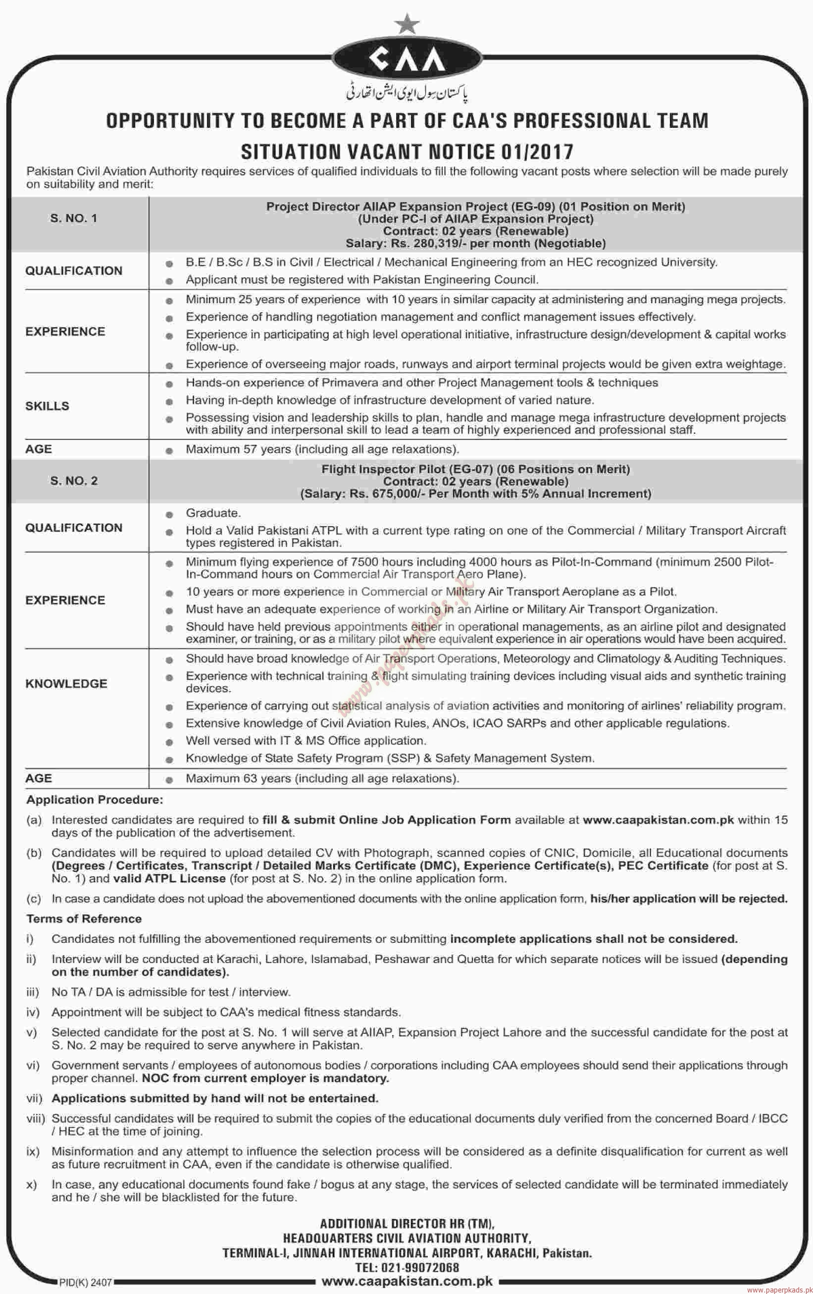 Pakistan Civil Aviation Authority Jobs - Dawn Jobs ads 01 January 2017