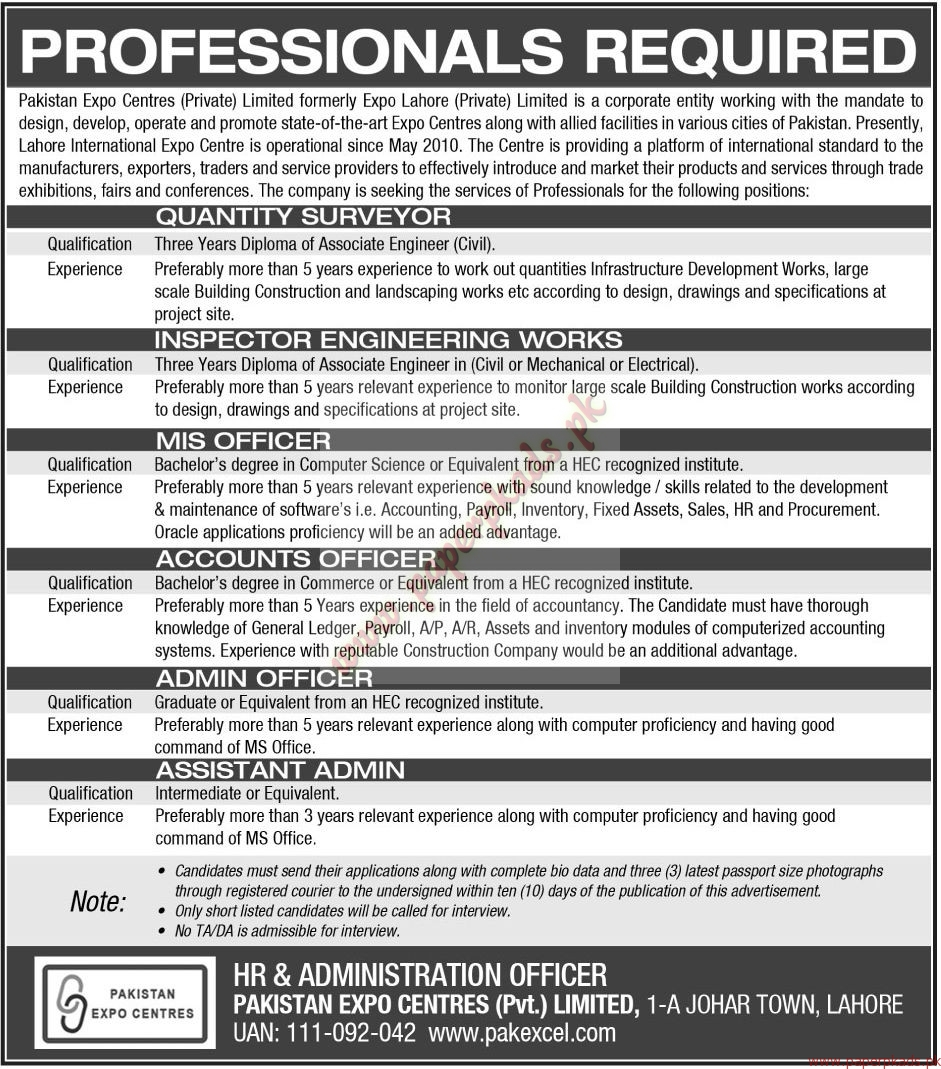 Pakistan Expo Centres Private Limited Jobs