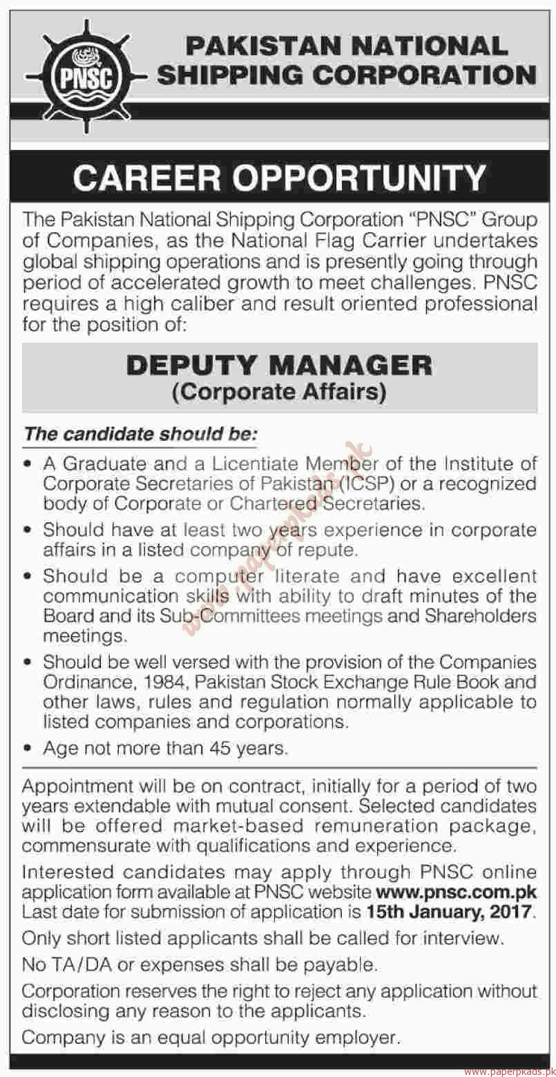 Pakistan National Shipping Corporation Jobs - Dawn Jobs ads 01 January 2017