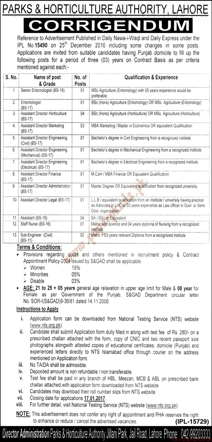 Parks & Horticulture Authority Lahore Jobs - Nawaiwaqt Jobs ads 01 January 2017