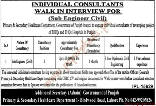 Primary & Secondary Health Care Department Jobs - Jang Jobs ads 01 January 2017