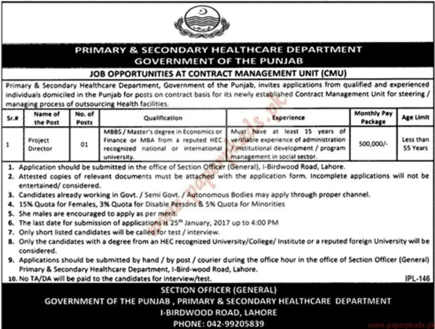 Primary & Secondary Heath Care Department Jobs